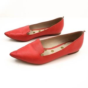Boden Pointed Toe Slipper Red Flat Shoes SZ 11